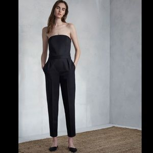 Theory Wool Blend Strapless Jumpsuit in Black
